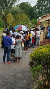 People waiting for an eye exam in Jamaica