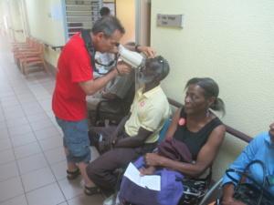 Man getting eye exam in Sint Maarten