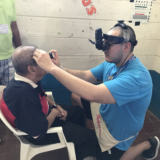 Man receiving eye care in Nicaragua