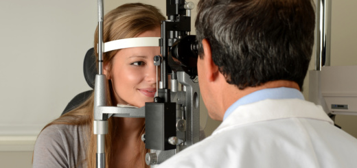 Woman and her eye doctor