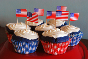 Red white and blue cupcakes with american flag