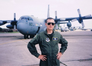 Captain Spande with a C-130 Hercules